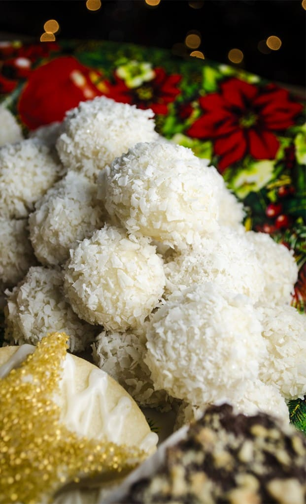 Coconut-Lime Snowballs with other Christmas Cookies