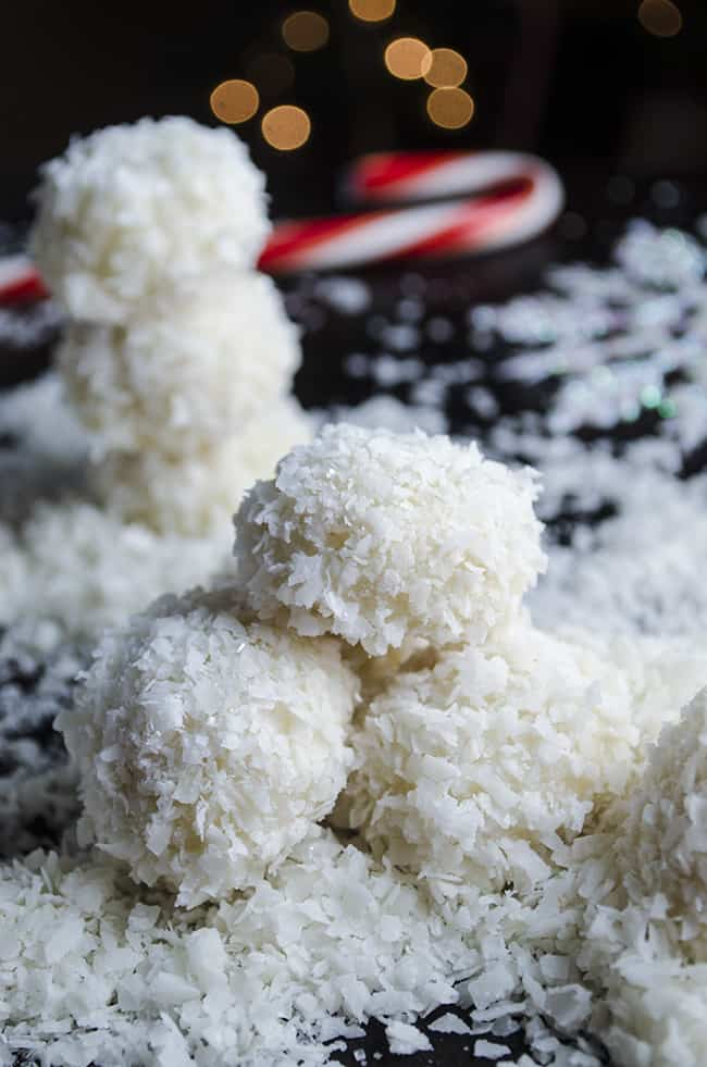 Coconut-Lime Snowballs with snowman and candycane