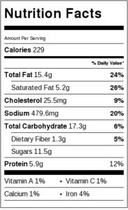 Bacon wrapped water chestnuts nutrition label