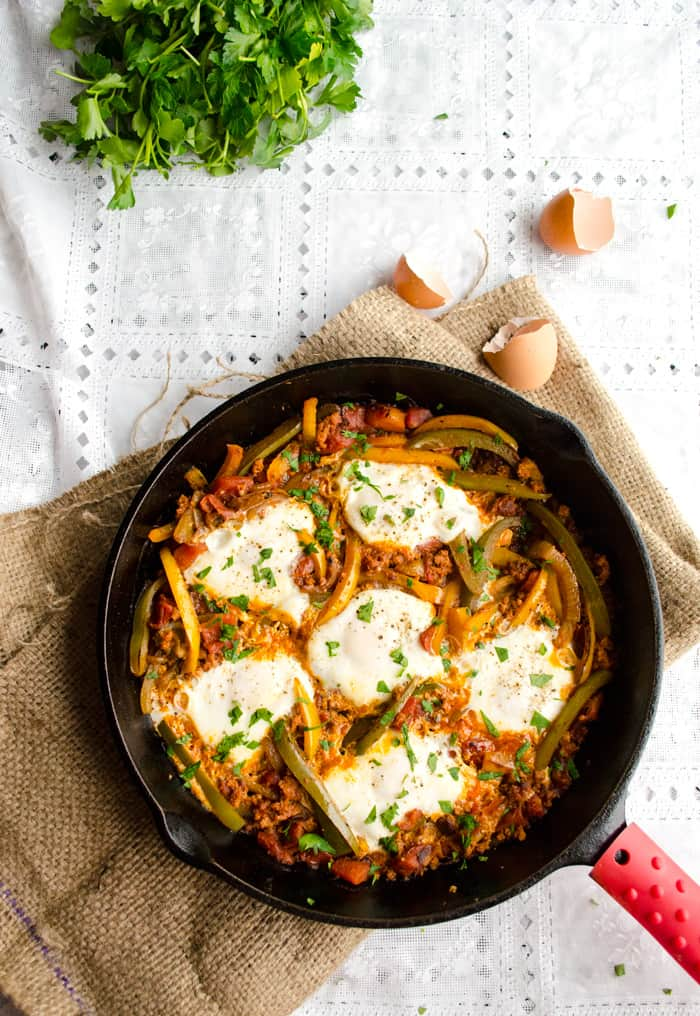 Egg and Chorizo Skillet Supper top view