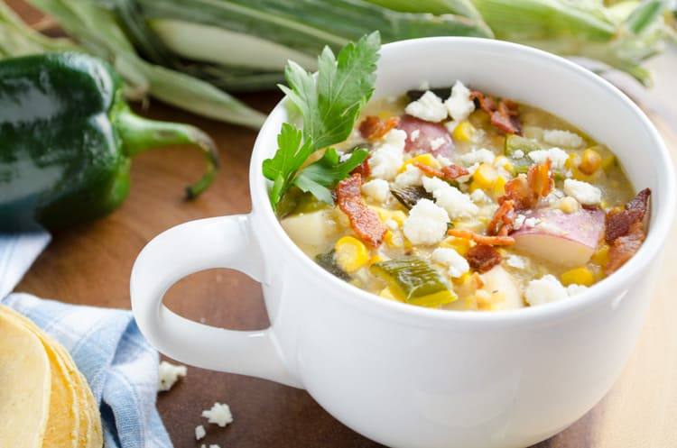 Roasted Corn And Poblano Chowder Close UP