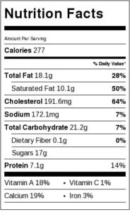 Nutrition Label for Skinny White Chocolate Creme Brulee