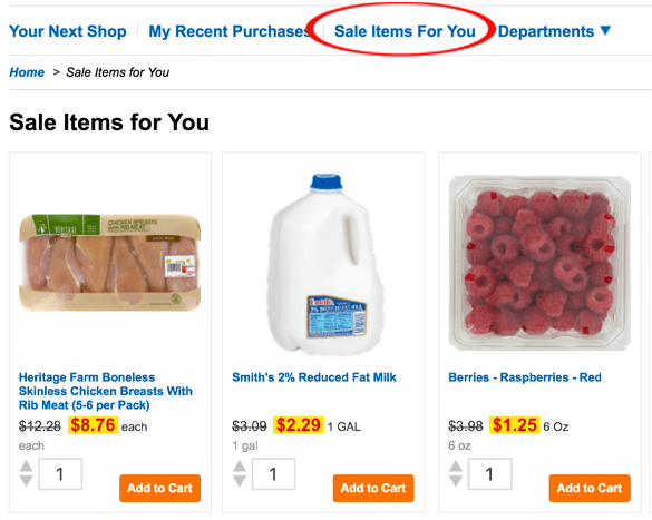 A screen shot of how to order your groceries from Smith's Clicklist.