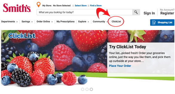 A screen shot of how to sign up to use Smith's Clicklist.