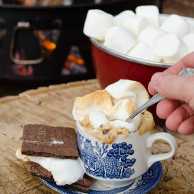 S'mores Cake with Roasted Marshmallows