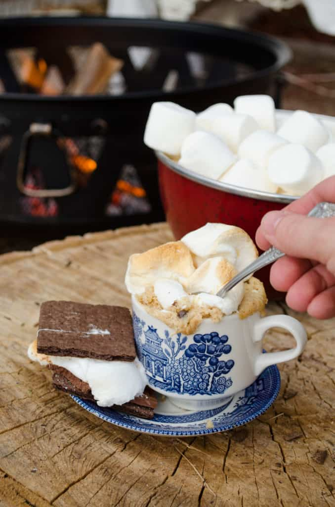 A S'mores Cake with Roasted Marshmallows by the campfire.