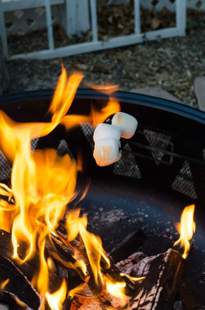 Marshmallows for a S'mores Cake with Roasted Marshmallows over the fire.
