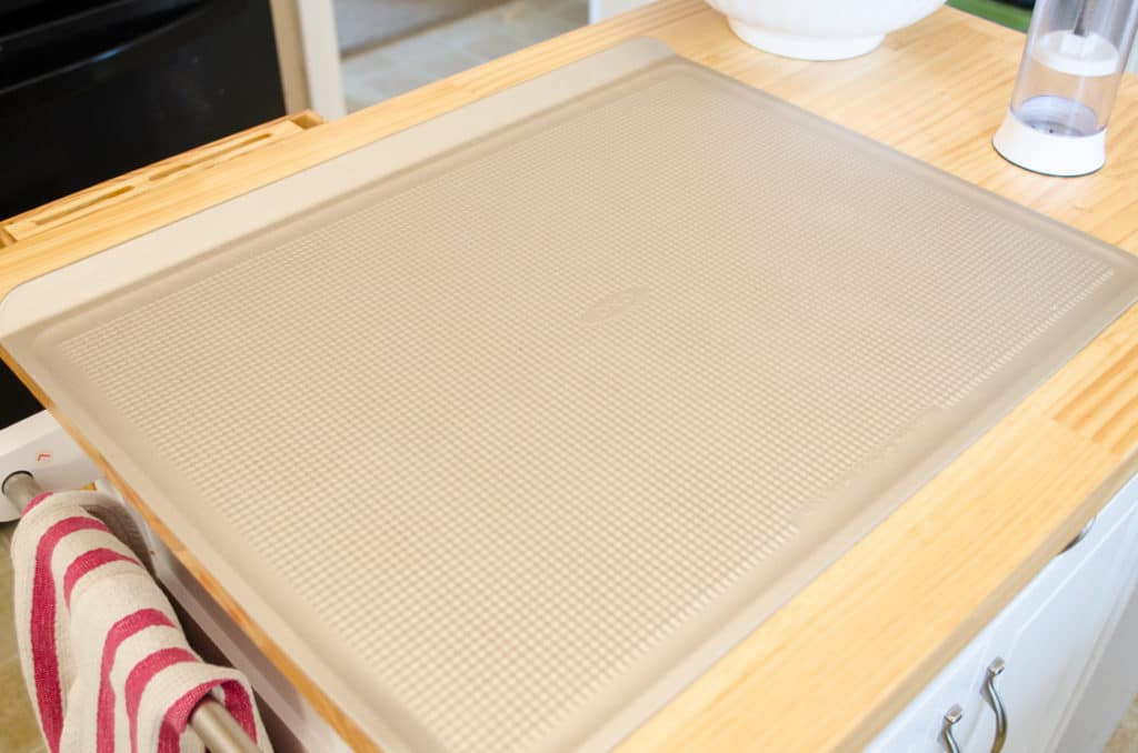 OXO Non-Stick Cookie Sheet for baking Chocolate Cinnamon Bear Cookies.