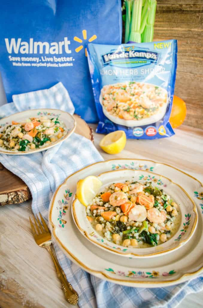 Van de Kamp's Seafood and Veggie Meals for Fish on Friday displayed on two plates with a Walmart bag and product frozen bag in the background - The Goldilocks Kitchen
