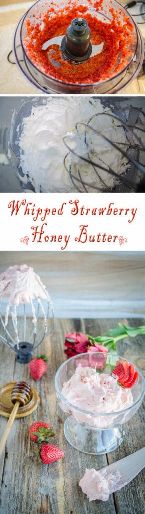 Whipped Strawberry Honey Butter will delight your senses with the taste of honey kissed butter and sweet garden fresh strawberries on any slice of bread, crepe or bagel.