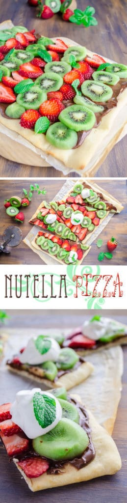 You won't find a more easy, fun and delicious dessert to treat your family and friends to than Nutella Pizza. Real Pizza dough topped generously with Nutella, fresh fruit, and a dollop of vanilla kissed whipped cream.