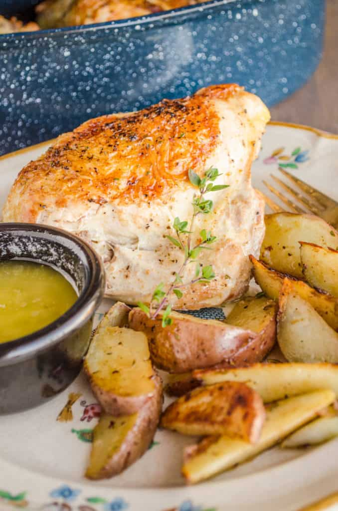 A golden brown roast chicken breast is surrounded with roasted potato wedges and garnished with a sprig of thyme and a lemon thyme pan sauce for Weeknight Roasted Chicken Breast with Red Potatoes - The Goldilocks Kitchen