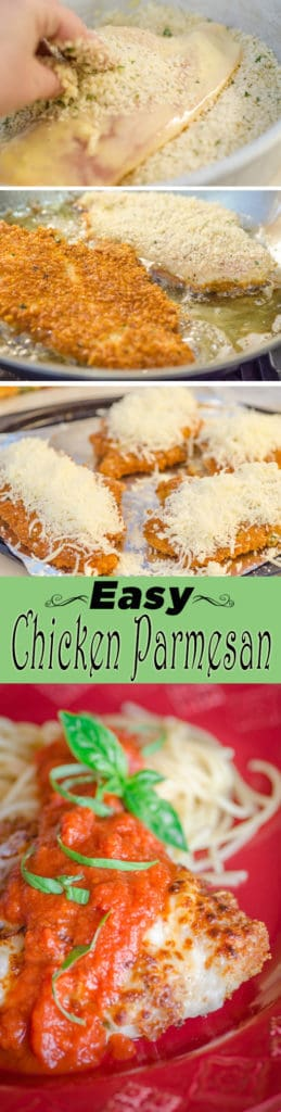 If you're looking for an easy yet impressive dinner recipe that tastes like your Italian grandmother made it from scratch, then Easy Chicken Parmesan is the answer! Juicy chicken cutlets fried in a crunchy panko parmesan crust smothered in melty mozzarella, all topped with yummy tomato marinara sauce (that you bought from the store, shhhh, no one will know). Serve it on a bed of lightly-sauced spaghetti or fettuccine noodles. An impressive and delicious family dinner, ready in about 30-40 minutes.