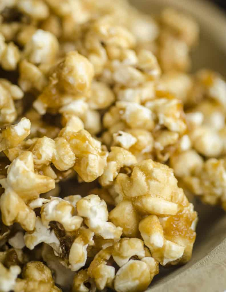 A close up picture of Microwave Caramel Popcorn - The Goldilocks Kitchen