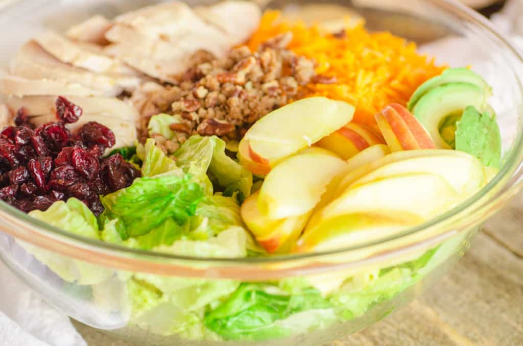Chicken Apple Cheddar Salad ingredients sit partitioned in a large glass bowl. - The Goldilocks Kitchen
