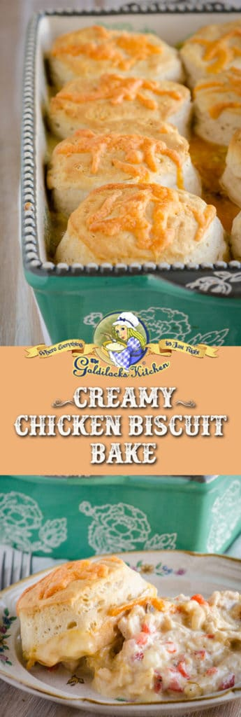 You'll love making Creamy Chicken Biscuit Bake because it's such an easy weeknight dinner your family! Enjoy it in as little as 40 minutes from start to finish when you already have cooked shredded chicken on hand.
