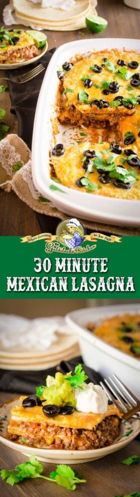 This delicious 30 Minute Mexican Lasagna dinner is fun and easy to make! Layers of ground beef, refried beans, tortillas, salsa, taco seasoning, and Mexican cheese blend; smothered with sliced olives, cilantro, sour cream and fresh guacamole.