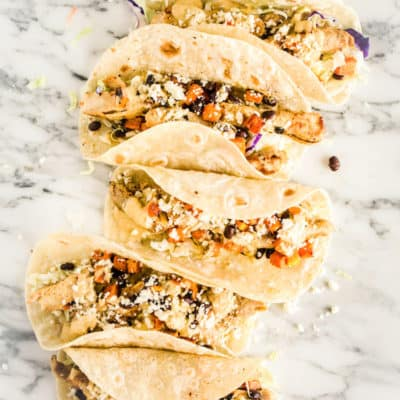 Grilled Chicken Tacos with Green Chile Cream Sauce