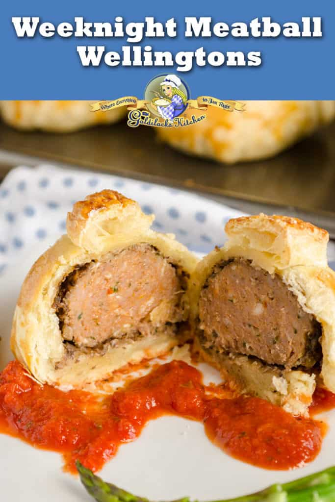 These Easy Meatball Wellingtons are a great dinner idea for entertaining or for a large family dinner. They taste like homemade but in just half the time. Meatballs covered in mushroom and wrapped in puff pastry, then baked and served over marinara sauce.- The Goldilocks Kitchen
