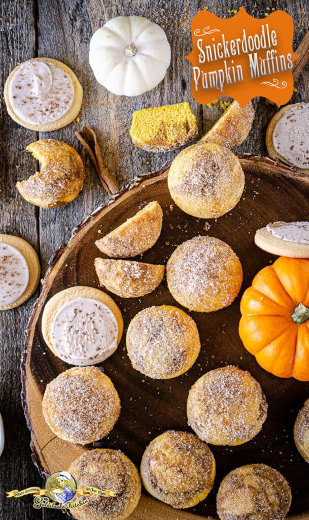 Searching for amazing pumpkin spice recipe ideas? I love this Snickerdoodle Pumpkin Muffin mashup recipe from The Goldilocks Kitchen! Each pumpkin muffin has a snickerdoodle swirl inside and sparkly cinnamon sugar coating on top. A recipe to celebrate pumpkin baking time.