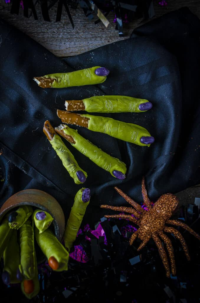Looking down on several finished Witch Fingers Halloween Treats.