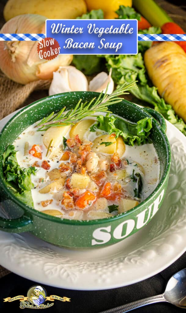 Looking for a make ahead, slow cooker, healthy and delicious meal? Check out Winter Slow-Cooker Vegetable Bacon Soup from The Goldilocks Kitchen! The perfect combination of winter vegetables seasoned with herbs and smoky bacon. Check it out now and subscribe to The Goldilocks Kitchen for more great recipes.