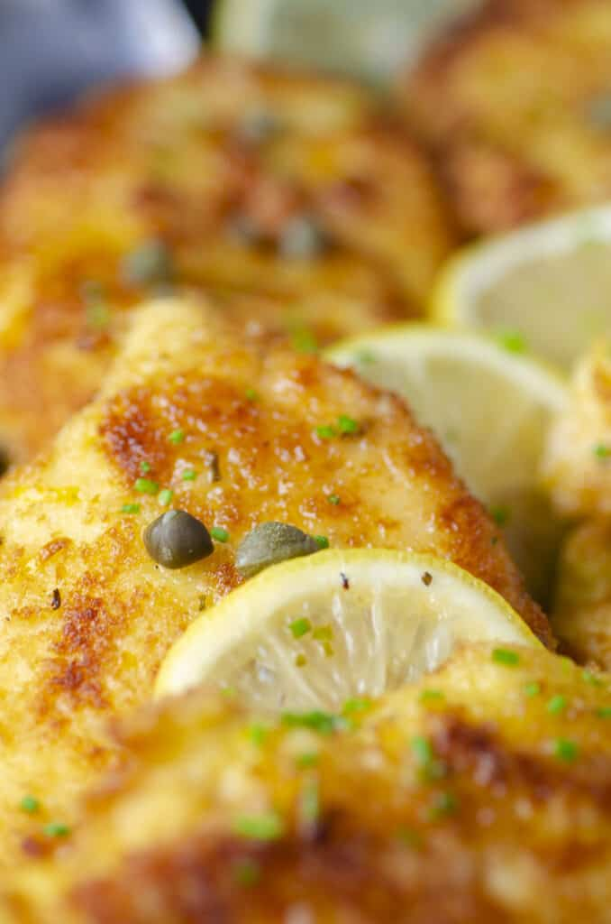 An extreme closeup of Sweet Lemon Chicken Piccata with a slice of lemon and a few green capers sprinkled on top.