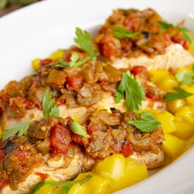Easy, One-Pan Salsa Poached Salmon with Mango